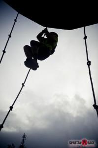 rope climb at top of ski mountain