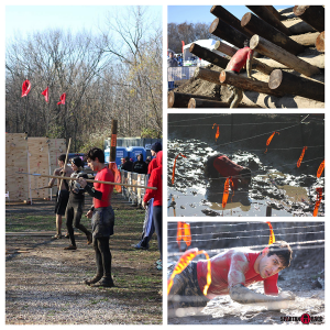 spear throw, barbwire log climb