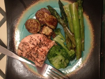 zucchini, chicken breast, broccoli, asparagus, veggies