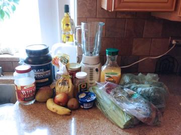 flaxseed meal, wheat germ, kale, spinach, chia seeds, orange, banana, greek yogurt, protein powder, celery, apple.