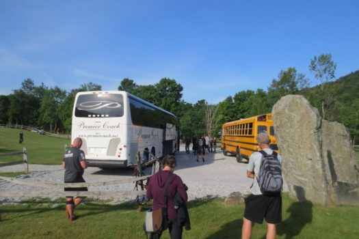 Yellow School Bus and Luxury Shuttle Bus at Death Race Peak Races 2014